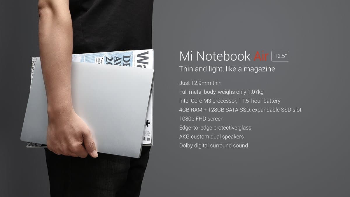 Specs of the Mi Notebook Air's 12.5-inch variant