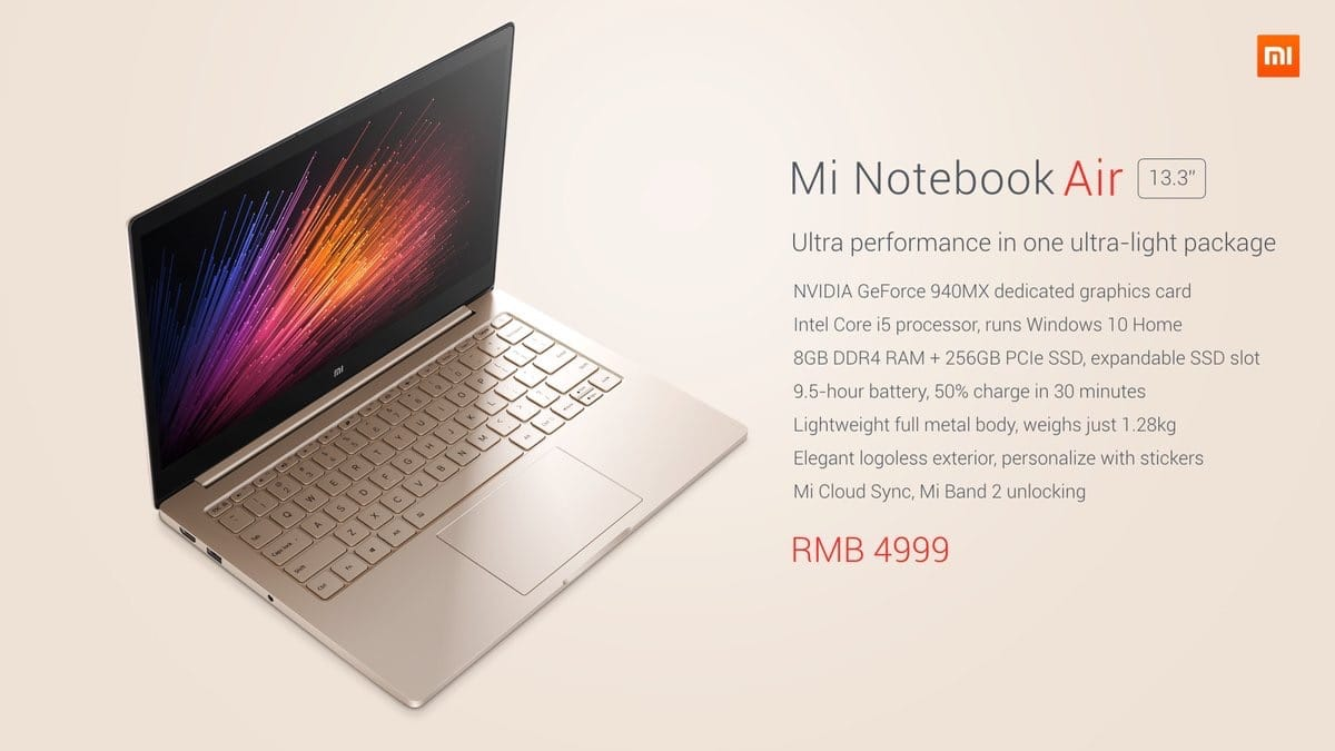 Specs of the Xiaomi Mi Notebook Air's 13.3-inch version