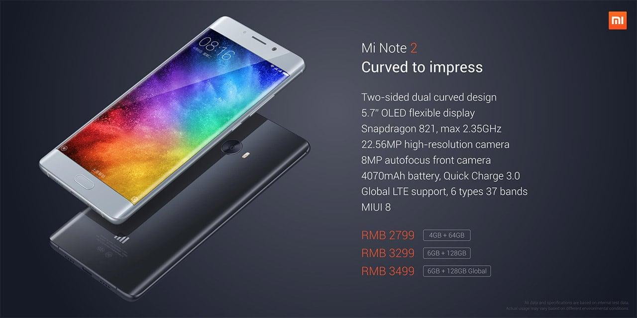 Xiaomi Mi Note 2 specs and pricing