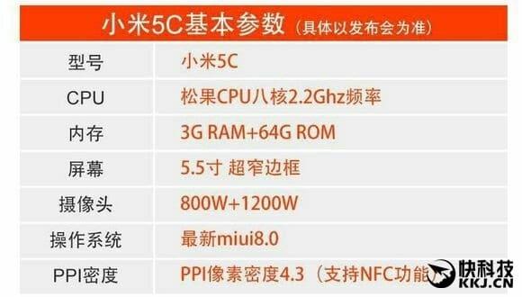 Xiaomi Mi 5c leaked specs