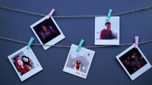 Instax photos displayed
