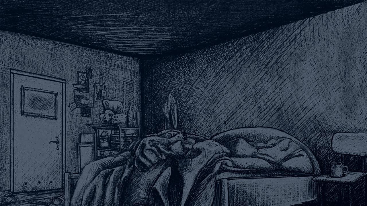 Thomas' bed, Indygo, Sketched bed, Dark bedroom