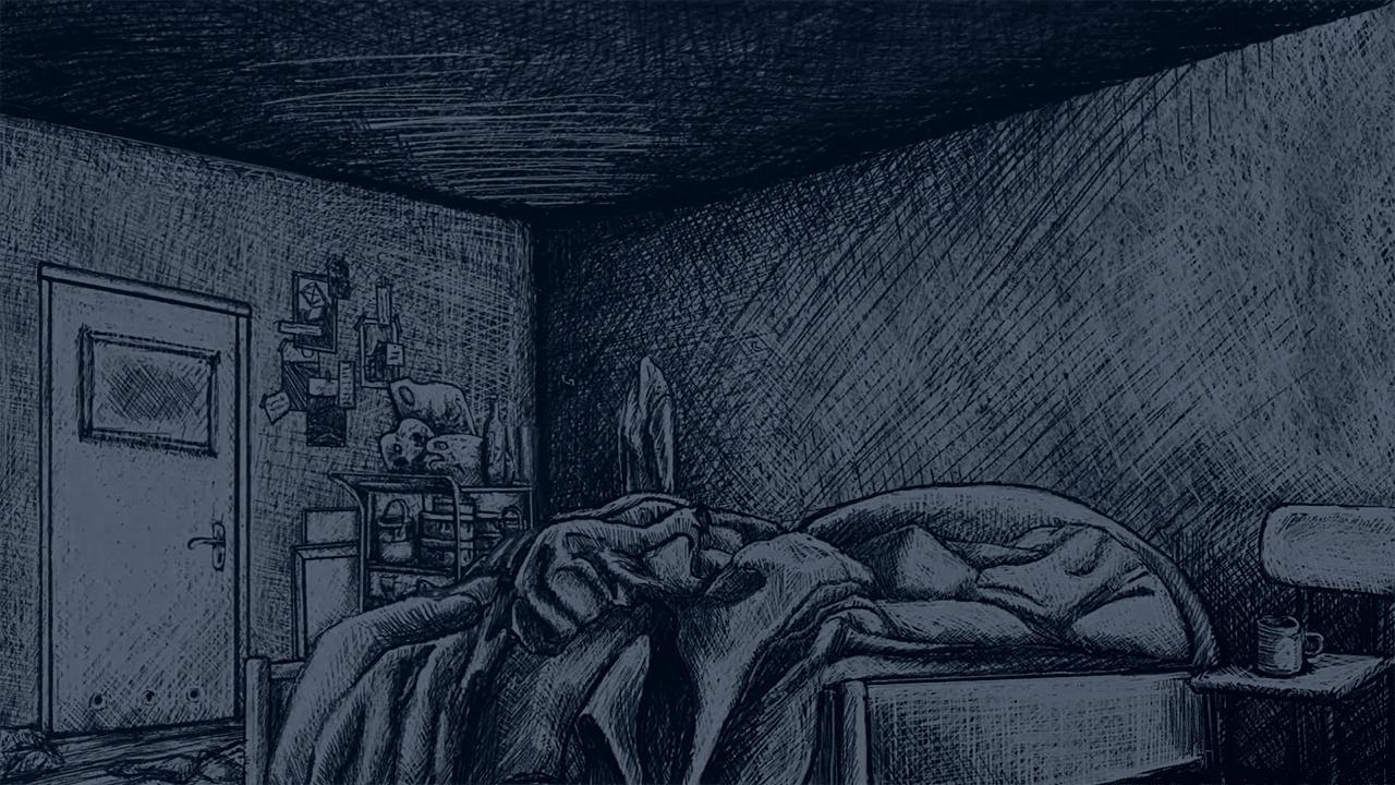 Thomas Bed Indygo Sketched Dark Bedroom