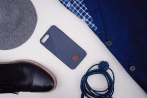 iPhone 8 case flatlay blue suit