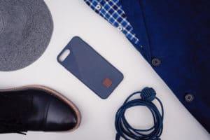 iPhone 8 case flatlay blue suit