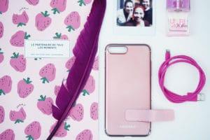 iPhone 8 case flatlay pink