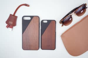iPhone 8 case flatlay brown