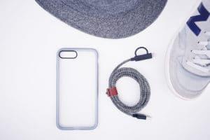 iPhone 8 case flatlay gray