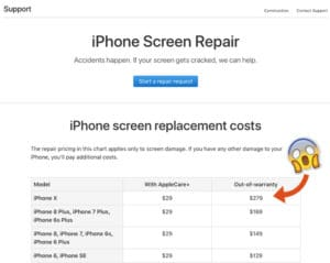 iPhone X screen repairs