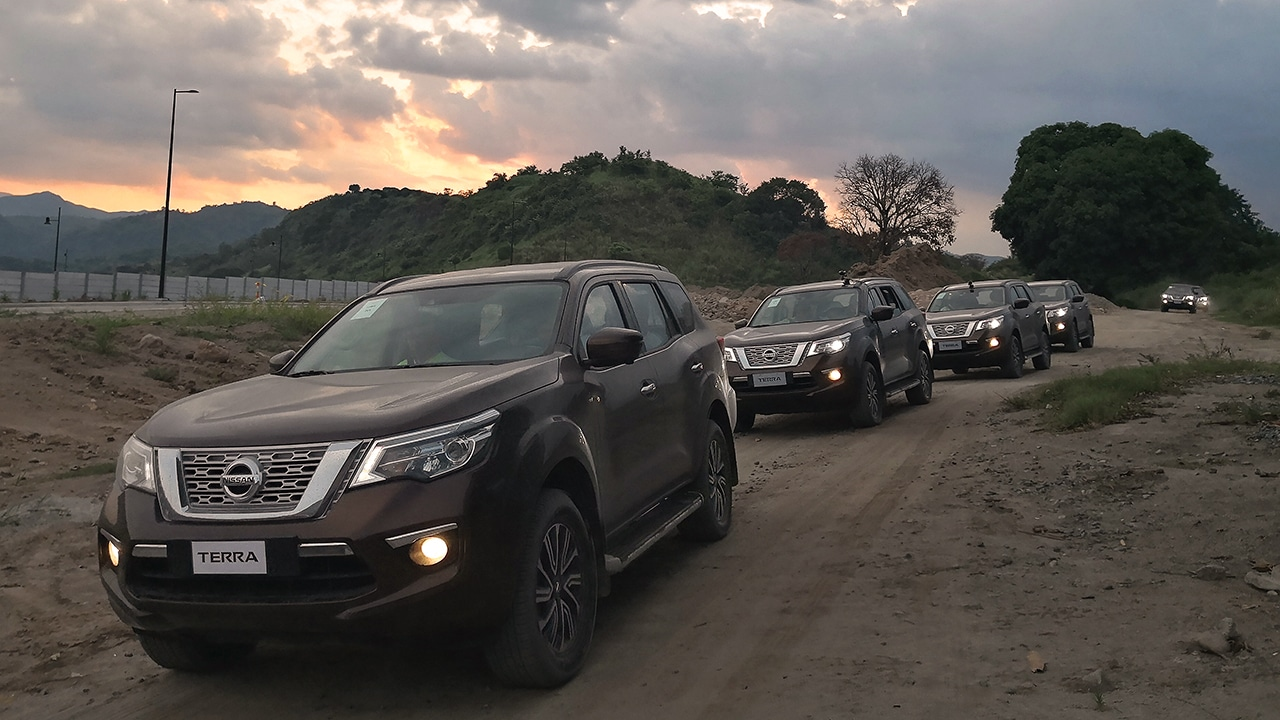 First Drive Nissan Terra 4x4 Suv Gadgetmatch Addon Remote Start Fits Pushtostart Infiniti Vehicles W As The Rain Died Down A Bit Fleet Of Brown Muddy Terras With Step Boards Covered In Sand Started Rolling To Hotels Driveway