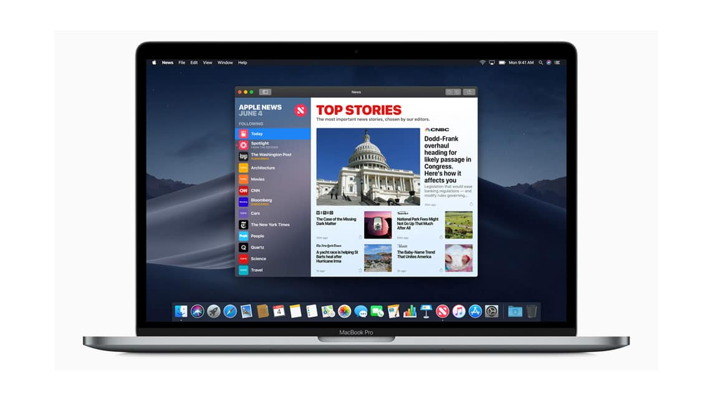 News App and Dark Mode on MacOS Mojave